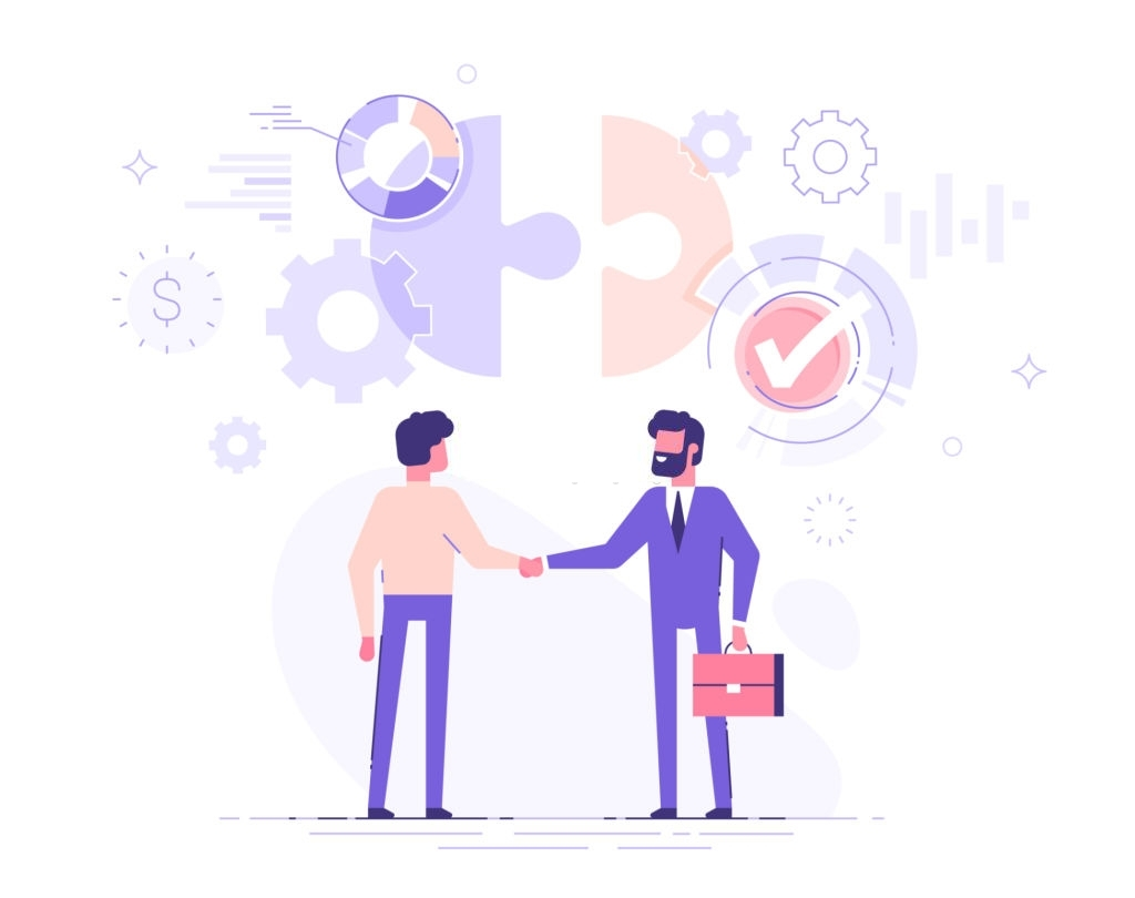 Two business partners are shaking hands. The investor investing money to idea and startup. Partnership and deal concept. Modern vector illustration.